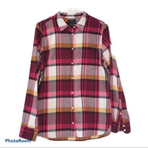 J. Crew Flannel Plaid Long Sleeve Button Down Top